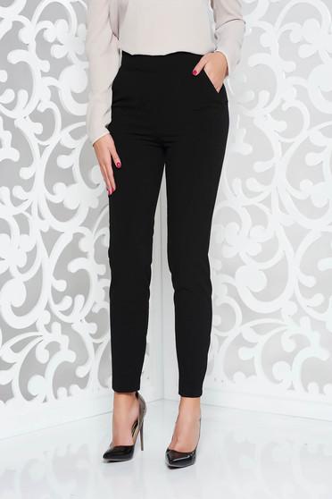 Pantaloni PrettyGirl negri office cu un croi drept din stofa subtire usor elastica cu talie inalta