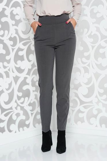 Pantaloni PrettyGirl gri office cu un croi drept din stofa subtire usor elastica cu talie inalta
