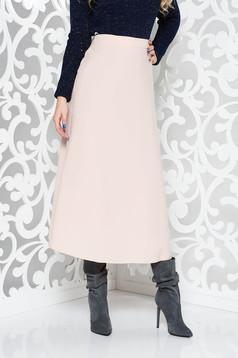 Fusta StarShinerS rosa office in clos din stofa subtire usor elastica cu talie inalta
