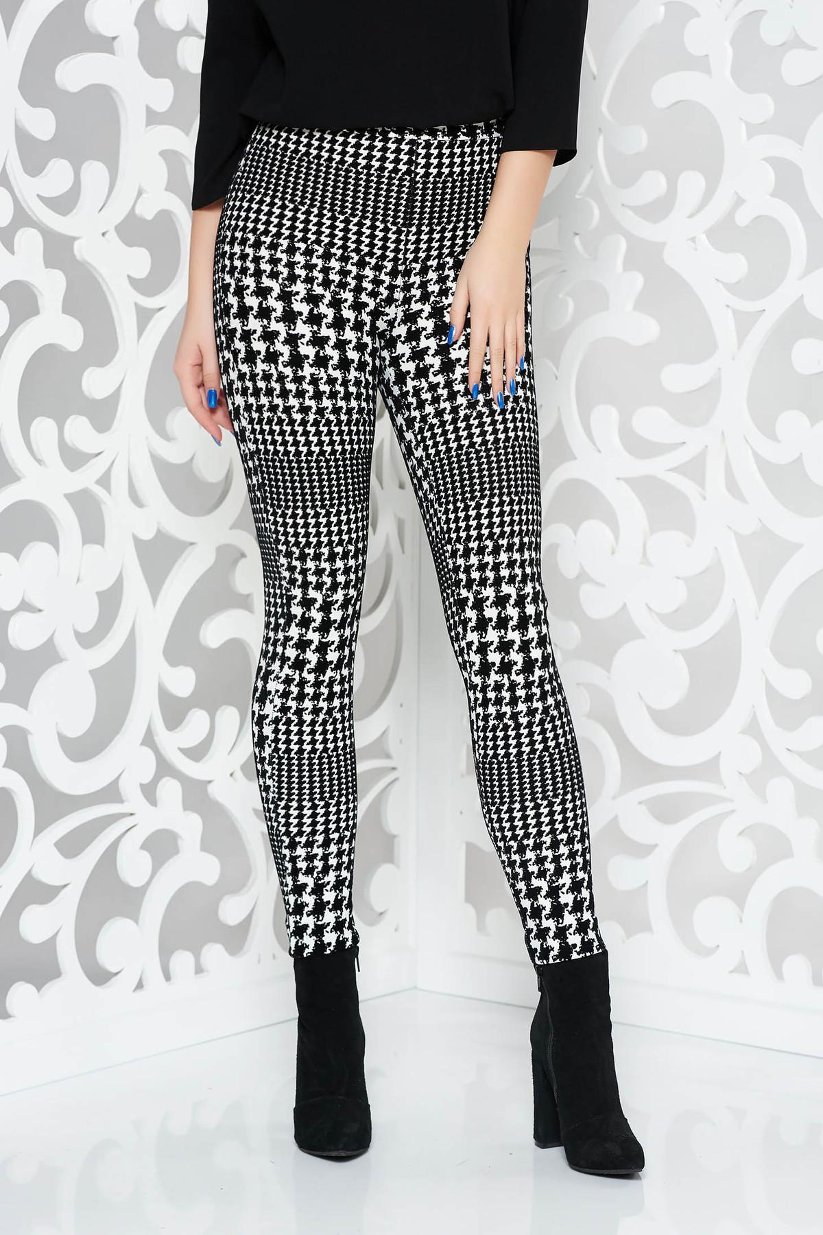 Pantaloni Starshiners Negri Casual Cu Un Croi Mulat Din Material Catifelat Cu Talie Medie