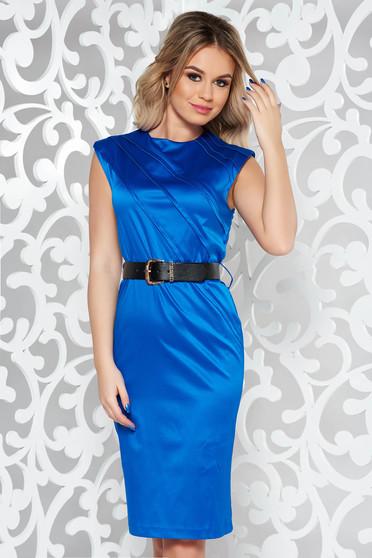 Rochie StarShinerS albastra eleganta midi din bumbac usor elastic cu accesoriu tip curea