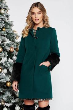 Palton LaDonna verde elegant cu un croi drept din lana cu insertii cu blana ecologica