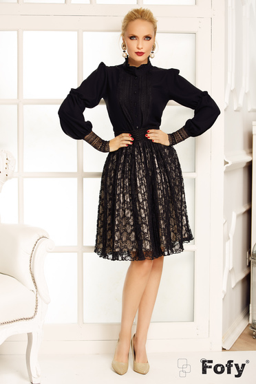 Bluza dama Fofy neagra eleganta din voal cu maneca lunga cu aplicatii de dantela