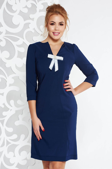 Rochie Fofy albastra-inchis de zi cu croi in A din stofa usor elastica accesorizata cu o fundita