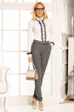 Pantaloni Fofy gri office din stofa cu talie medie cu un croi drept