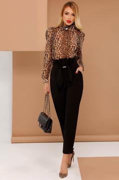 Pantaloni PrettyGirl negri office cu talie inalta din stofa usor elastica accesorizat cu o fundita