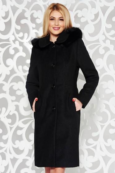 Palton negru elegant cu un croi drept din lana captusit pe interior gluga detasabila