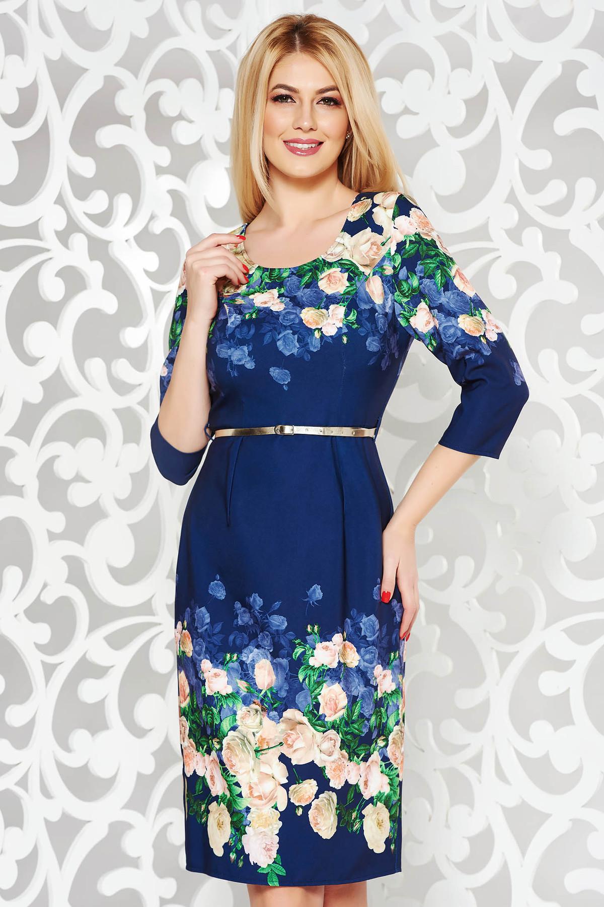 Rochie albastra-inchis eleganta tip creion cu maneca 3/4 din stofa cu imprimeu floral cu accesoriu tip curea