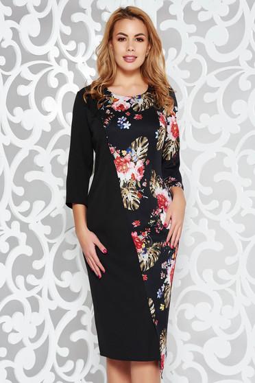 Rochie neagra eleganta midi din stofa subtire usor elastica cu imprimeu floral