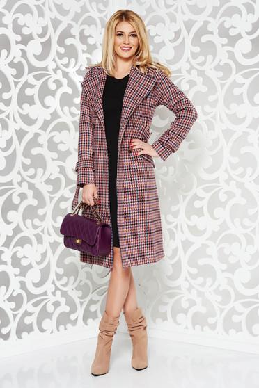Palton StarShinerS rosa din lana cu un croi cambrat captusit pe interior accesorizat cu cordon