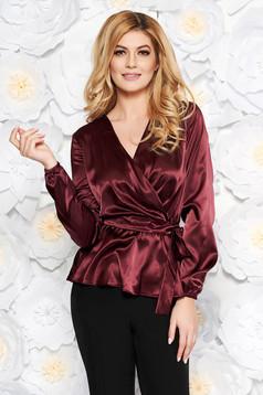Bluza dama StarShinerS visinie eleganta cu croi larg din material satinat accesorizata cu cordon cu decolteu in v