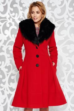 Palton LaDonna rosu elegant in clos din lana cu insertii de blana ecologica detasabile