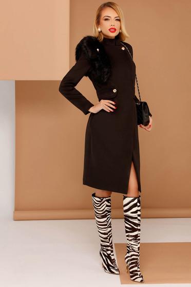 Palton PrettyGirl negru elegant din stofa neelastica captusit pe interior cu insertii cu blana ecologica