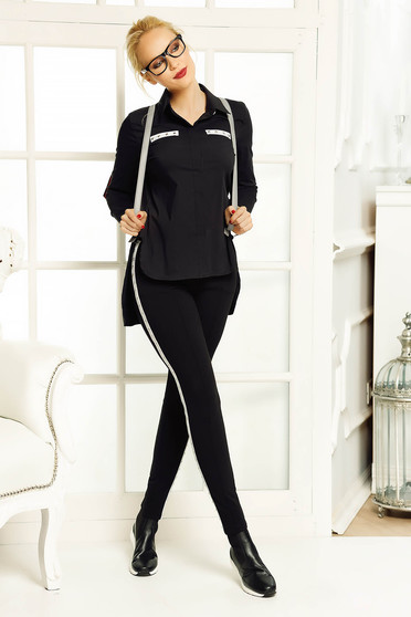 Camasa dama Fofy neagra casual cu croi larg asimetrica din bumbac usor elastic cu guler ascutit