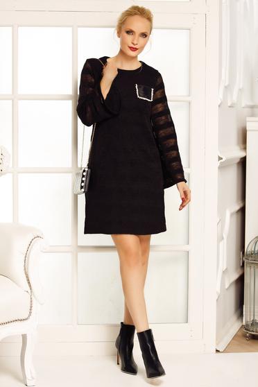 Rochie Fofy neagra eleganta cu croi in A din material tricotat cu maneci largi
