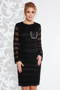 Rochie Fofy neagra eleganta cu un croi drept din material tricotat maneci largi
