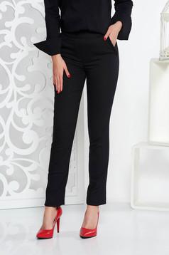 Pantaloni Fofy negri office conici cu talie medie din stofa usor elastica cu buzunare