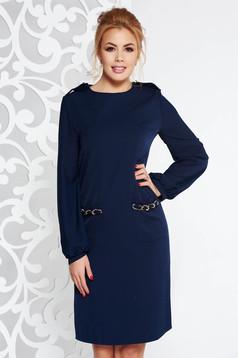 Rochie Fofy albastra-inchis eleganta cu croi in A cu maneci din voal accesorizata cu lant metalic