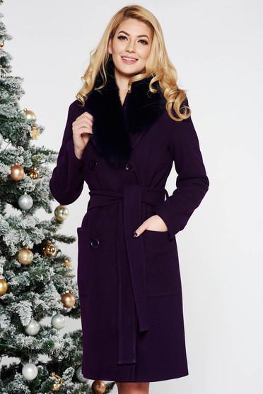 Palton LaDonna mov elegant cu un croi drept din lana cu guler din blana naturala