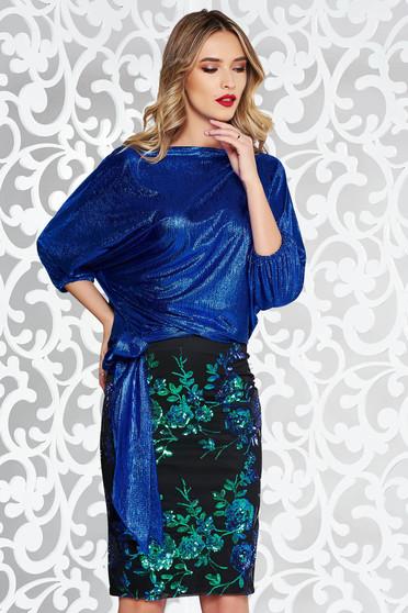 Set StarShinerS albastru de ocazie cu fusta cu paiete si bluza din material lucios