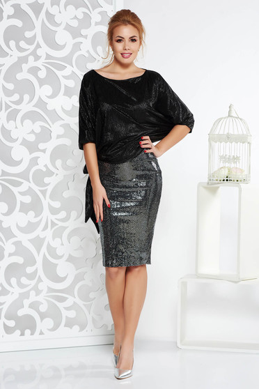 Set StarShinerS negru de ocazie cu fusta din paiete si bluza cu croi larg din material lucios