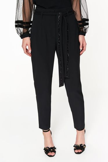 Pantaloni Top Secret negri de ocazie conici cu talie inalta din stofa accesorizati cu cordon