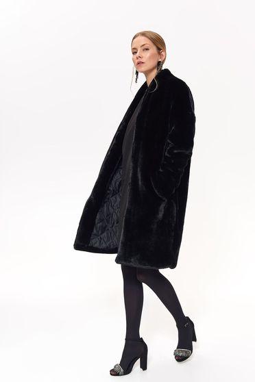 Palton Top Secret negru elegant cu croi larg din blana ecologica