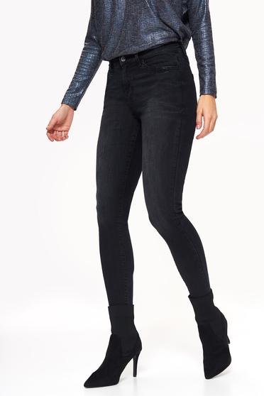Pantaloni Top Secret negri casual cu un croi mulat cu talie medie din bumbac cu aplicatii cu pietre strass
