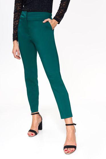 Pantaloni Top Secret verde inchis eleganti conici cu talie medie din bumbac