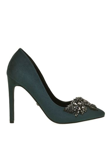 Pantofi Top Secret verde elegant din piele ecologica cu varful usor ascutit cu aplicatii cu margele