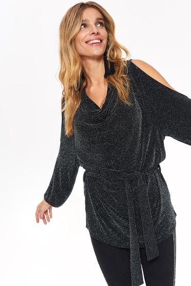 Bluza dama Top Secret neagra de ocazie cu croi larg cu umeri decupati accesorizata cu cordon