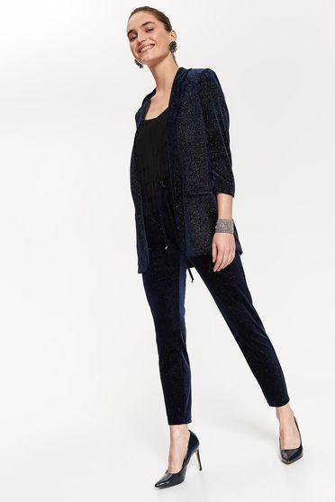 Pantaloni Top Secret albastri-inchis eleganti cu talie medie din material catifelat cu elastic in talie