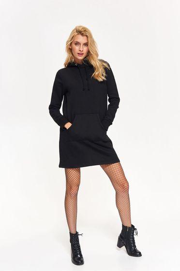 Bluza dama Top Secret neagra casual cu croi larg cu gluga din bumbac usor elastic