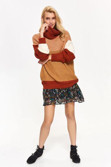 Pulover Top Secret maro casual cu croi larg din material tricotat pe gat
