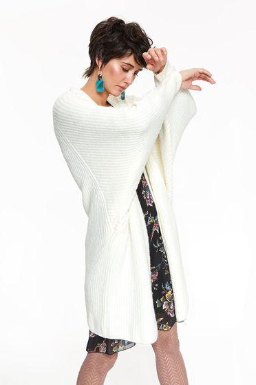 Pulover Top Secret crem casual tip cardigan cu croi larg din material tricotat