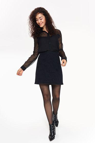 Bluza dama Top Secret neagra eleganta cu croi larg din material transparent cu buline