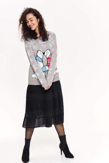 Pulover Top Secret gri casual cu croi larg din material tricotat cu ciucuri