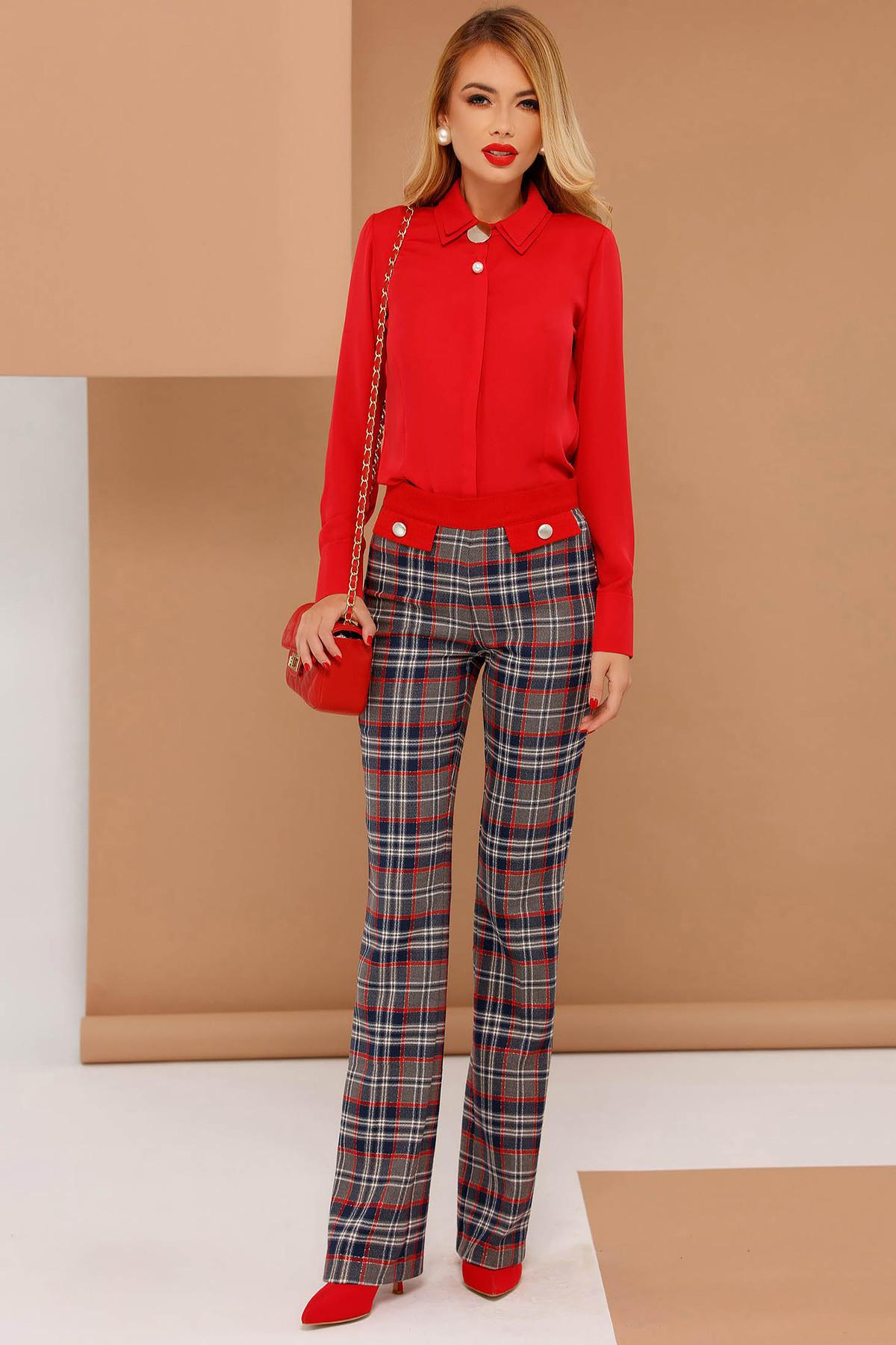 Pantaloni PrettyGirl rosii office evazati din stofa usor elastica cu talie medie