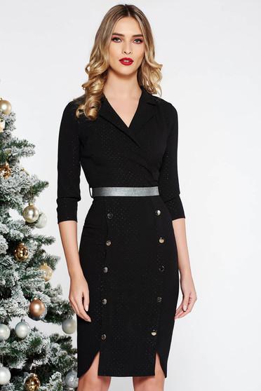 Rochie Fofy neagra eleganta midi din stofa usor elastica accesorizata cu nasturi
