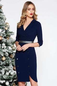 Rochie Fofy albastra-inchis eleganta midi din stofa usor elastica accesorizata cu nasturi