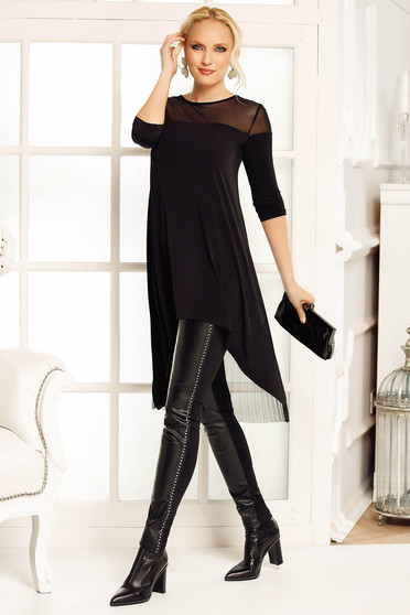 Bluza dama Fofy neagra eleganta asimetrica cu croi larg din material vaporos