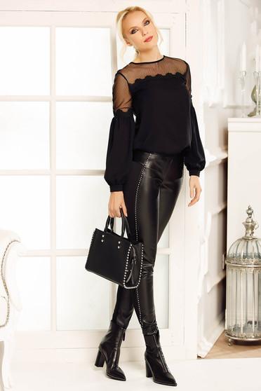 Bluza dama Fofy neagra eleganta cu croi larg cu maneci bufante