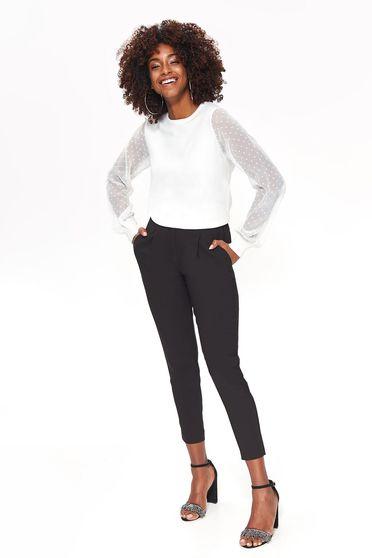 Pulover Top Secret alb elegant din material tricotat maneci transparente