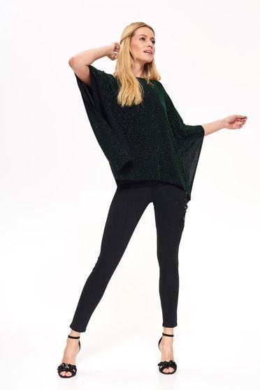 Bluza dama verde Top Secret eleganta cu croi larg cu maneci trei-sferturi tesatura metalica cu luciu