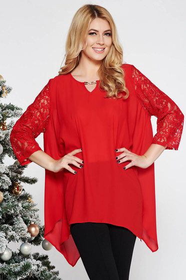 Bluza dama rosie eleganta asimetrica cu croi larg din voal cu maneci din dantela