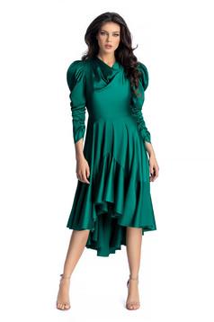 Rochie Ana Radu verde-inchis de lux asimetrica din material satinat cu maneci bufante cu volanase la baza rochiei