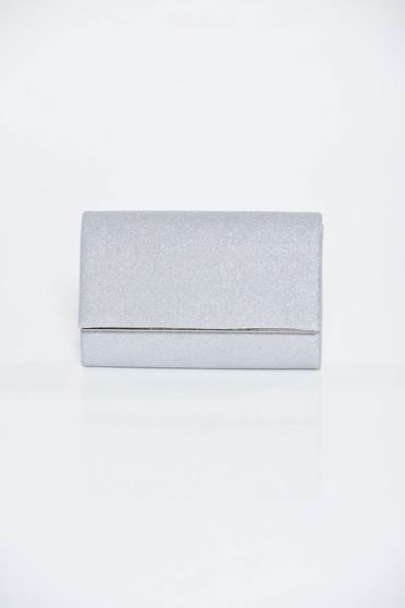 Geanta dama argintie plic de ocazie din material lucios