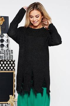 Pulover SunShine negru cu croi larg din material tricotat lucios cu rupturi