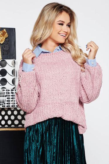 Pulover SunShine rosa casual cu croi larg din material tricotat catifelat cu aplicatii cu perle