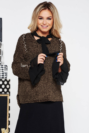 Pulover SunShine khaki casual cu croi larg din material tricotat catifelat cu aplicatii cu perle